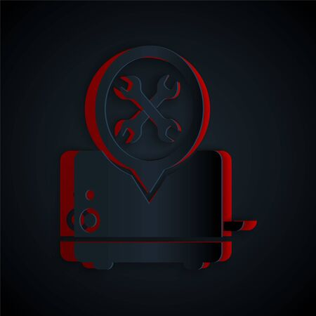 Paper cut Toaster with screwdriver and wrench icon isolated on black background. Adjusting, service, setting, maintenance, repair, fixing. Paper art style. Vector Illustration