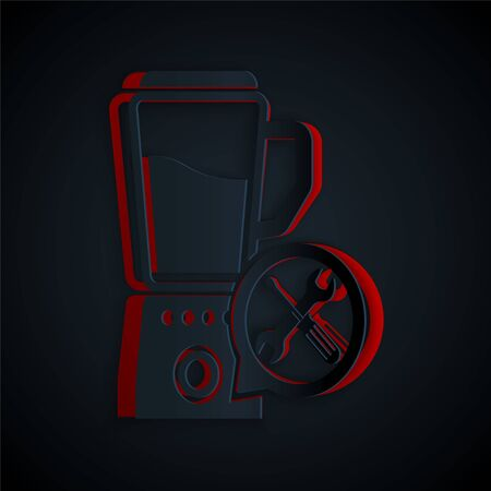 Paper cut Blender with screwdriver and wrench icon isolated on black background. Adjusting, service, setting, maintenance, repair, fixing. Paper art style. Vector Illustration