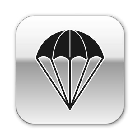 Black Parachute icon isolated on white background. Silver square button. Vector Illustration
