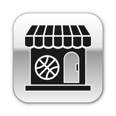 Black Sports shop and basketball ball icon isolated on white background. Sport store. Silver square button. Vector Illustration