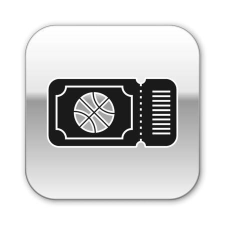 Black Basketball game ticket icon isolated on white background. Silver square button. Vector Illustration