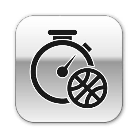 Black Stopwatch with basketball ball inside icon isolated on white background. Basketball time. Sport and training. Silver square button. Vector Illustration