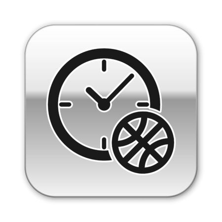 Black Clock with basketball ball inside icon isolated on white background. Basketball time. Sport and training. Silver square button. Vector Illustration