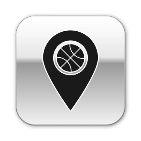 Black Location with basketball ball inside icon isolated on white background. Silver square button. Vector Illustration
