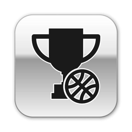 Black Award cup with basketball ball icon isolated on white background. Winner trophy symbol. Championship or competition trophy. Silver square button. Vector Illustration Ilustracja