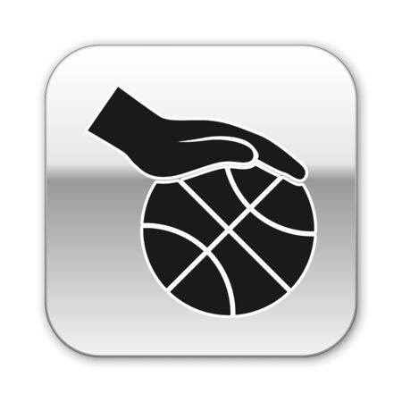 Black Hand with basketball ball icon isolated on white background. Sport symbol. Silver square button. Vector Illustration