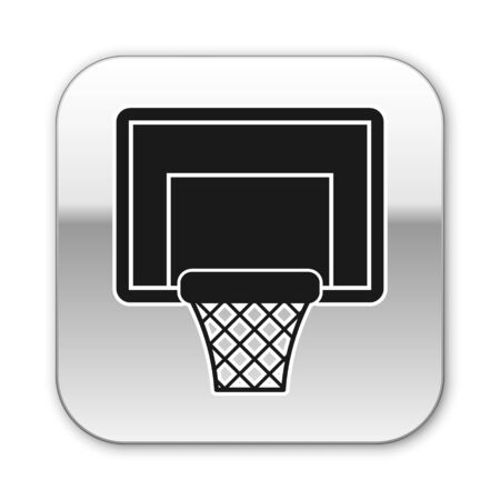 Black Basketball backboard icon isolated on white background. Silver square button. Vector Illustration Ilustracja