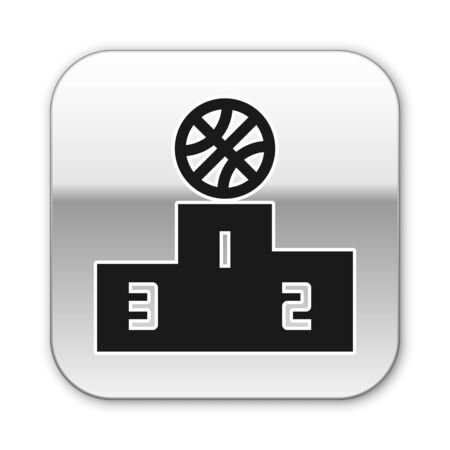 Black Basketball over sports winner podium icon isolated on white background. Silver square button. Vector Illustration Ilustrace
