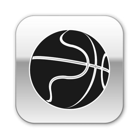 Black Basketball ball icon isolated on white background. Sport symbol. Silver square button. Vector Illustration