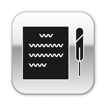 Black Feather pen and paper scroll icon isolated on white background. Silver square button. Vector Illustration 向量圖像