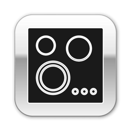 Black Gas stove icon isolated on white background. Cooktop sign. Hob with four circle burners. Silver square button. Vector Illustration Foto de archivo - 134574557