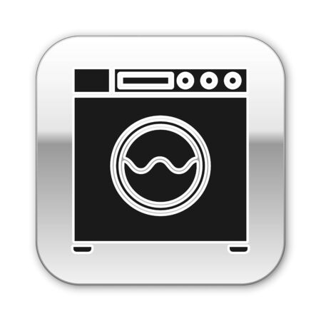 Black Washer icon isolated on white background. Washing machine icon. Clothes washer - laundry machine. Home appliance symbol. Silver square button. Vector Illustration