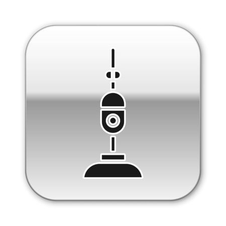 Black Vacuum cleaner icon isolated on white background. Silver square button. Vector Illustration