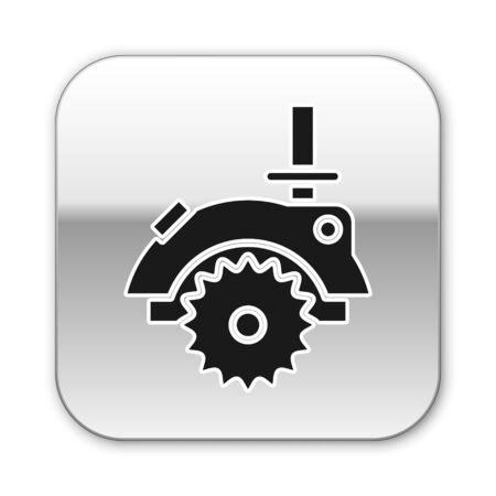Black Electric circular saw with steel toothed disc icon isolated on white background. Electric hand tool for cutting wood or metal. Silver square button. Vector Illustration Illustration