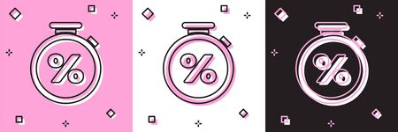 Set Stopwatch and percent discount icon isolated on pink and white, black background. Time timer sign. Vector Illustration