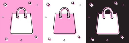 Set Handbag icon isolated on pink and white, black background. Shoping bag sign. Woman bag icon. Female handbag sign. Glamour casual baggage. Vector Illustration