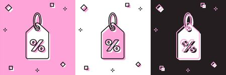 Set Discount percent tag icon isolated on pink and white, black background. Shopping tag sign. Special offer sign. Discount coupons symbol. Vector Illustration