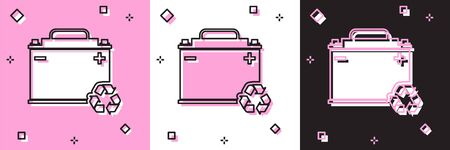 Set Car battery with recycle icon isolated on pink and white, black background. Accumulator battery energy power and electricity accumulator battery. Vector Illustration