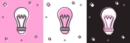 Set Light bulb icon isolated on pink and white, black background. Energy and idea symbol. Lamp electric. Vector Illustration