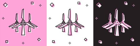 Set Wind turbines icon isolated on pink and white, black background. Wind generator sign. Windmill silhouette. Windmills for electric power production. Vector Illustration