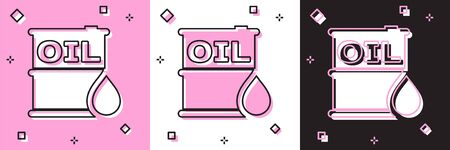 Set Oil barrel icon isolated on pink and white, black background. Oil drum container. For infographics, fuel, industry, power, ecology. Vector Illustration