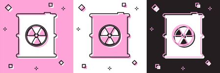 Set Radioactive waste in barrel icon isolated on pink and white, black background. Toxic refuse keg. Radioactive garbage emissions, environmental pollution. Vector Illustration Illustration