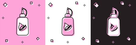 Set Ketchup bottle icon isolated on pink and white, black background. Fire flame icon. Hot chili pepper pod sign. Barbecue and BBQ grill symbol. Vector Illustration Illustration