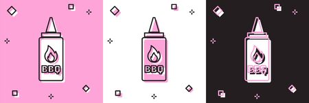 Set Ketchup bottle icon isolated on pink and white, black background. Fire flame icon. Barbecue and BBQ grill symbol. Vector Illustration