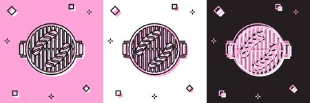 Set Barbecue grill with sausage icon isolated on pink and white, black background. BBQ grill party. Vector Illustration Illustration