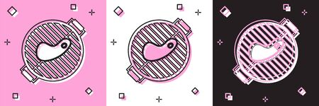 Set Barbecue grill with steak icon isolated on pink and white, black background. BBQ grill party. Vector Illustration 向量圖像