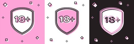 Set Shield with inscription 18 plus icon isolated on pink and white, black background. Adults content only. Protection, safety, security, protect concept. Vector Illustration 向量圖像