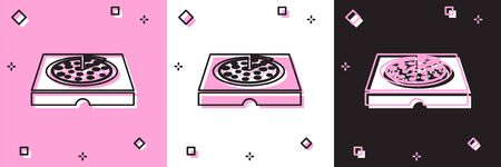Set Pizza in cardboard box icon isolated on pink and white, black background. Box with layout elements. Vector Illustration