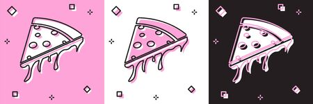Set Slice of pizza icon isolated on pink and white, black background. Vector Illustration Иллюстрация