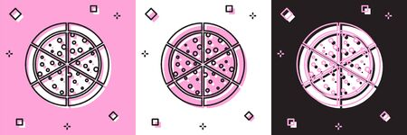 Set Pizza icon isolated on pink and white, black background. Vector Illustration