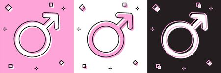Set Male gender symbol icon isolated on pink and white, black background. Vector Illustration
