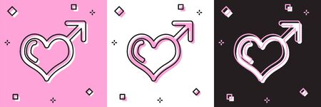 Set Male gender symbol and heart icon isolated on pink and white, black background. Vector Illustration Çizim