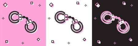 Set Sexy fluffy handcuffs icon isolated on pink and white, black background. Handcuffs with fur. Fetish accessory. Sex shop stuff for sadist and masochist. Vector Illustration