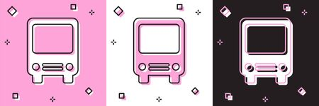 Set Bus icon isolated on pink and white, black background. Transportation concept. Bus tour transport sign. Tourism or public vehicle symbol. Vector Illustration