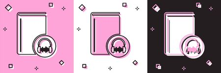 Set Audio book icon isolated on pink and white, black background. Book with headphones. Audio guide sign. Online learning concept. Vector Illustration