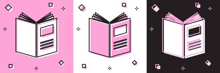 Set Open book icon isolated on pink and white, black background. Vector Illustration