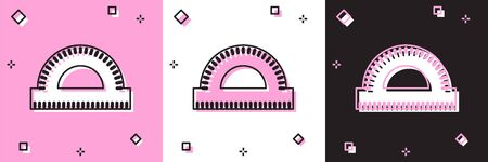 Set Protractor grid for measuring degrees icon isolated on pink and white, black background. Tilt angle meter. Measuring tool. Geometric symbol. Vector Illustration 向量圖像