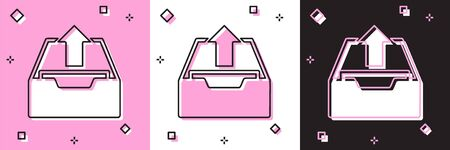 Set Upload inbox icon isolated on pink and white, black background. Extract files from archive. Vector Illustration Foto de archivo - 134556799