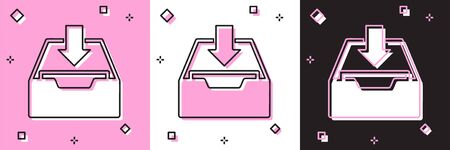 Set Download inbox icon isolated on pink and white, black background. Add to archive. Vector Illustration Foto de archivo - 134556800
