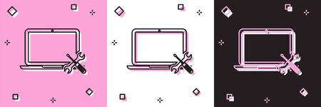 Set Laptop with screwdriver and wrench icon isolated on pink and white, black background. Adjusting, service, setting, maintenance, repair, fixing. Vector Illustration Foto de archivo - 134557178