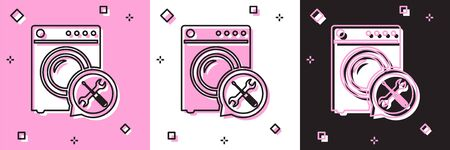 Set Washer with screwdriver and wrench icon isolated on pink and white, black background. Adjusting, service, setting, maintenance, repair, fixing. Vector Illustration