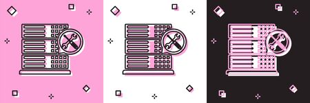 Set Database server with screwdriver and wrench icon isolated on pink and white, black background. Adjusting, service, setting, maintenance, repair, fixing. Vector Illustration Foto de archivo - 134557361