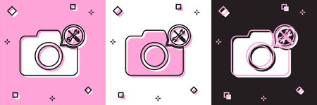 Set Photo camera with screwdriver and wrench icon isolated on pink and white, black background. Adjusting, service, setting, maintenance, repair, fixing. Vector Illustration
