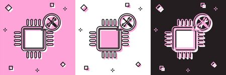 Set Processor with screwdriver and wrench icon isolated on pink and white, black background. Adjusting, service, setting, maintenance, repair, fixing. Vector Illustration Foto de archivo - 134557051