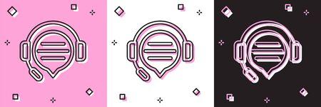 Placez les écouteurs avec l'icône de chat de bulle de discours d'isolement sur le fond rose et blanc, noir. Support service client, hotline, centre d'appels, faq, maintenance. Illustration vectorielle