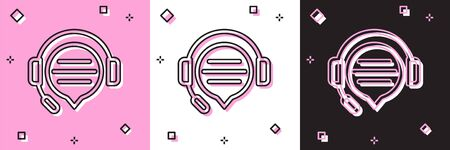 Set Headphones with speech bubble chat icon isolated on pink and white, black background. Support customer service, hotline, call center, faq, maintenance. Vector Illustration Vettoriali